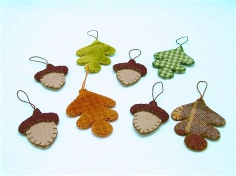 cute fall autumn acorn nut pattern christmas ornaments oak leaf and acorn design penny rug style fall