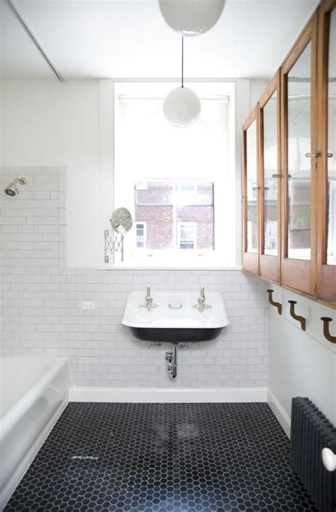 Black And White Tile Floor Bathroom by Hexagon Black Floor Tiles Bathroom Bliss