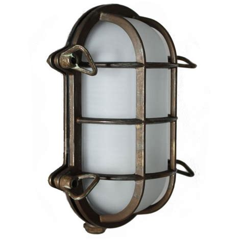 Outdoor Sconce Lighting Oval Bulkhead Flush Outdoor Wall Light Aged Copper