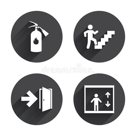emergency exit icons door with arrow sign stock vector emergency exit icons door with arrow sign stock vector