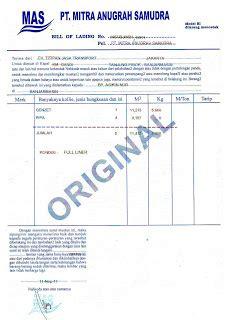Bentuk Letter Of Credit pt titipan terminal transport bill of lading konosemen