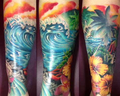 surf flower tattoo designs fallen owl studio
