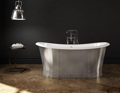 baignoire metal cast iron freestanding bathtub stainless steel skirt