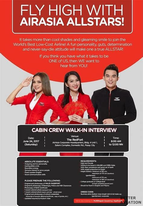 airasia walk in interview airasia philippines cabin crew walk in interview pasay