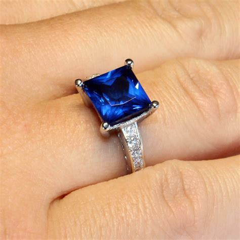 princess cut sapphire promise ring blue cubic zirconia