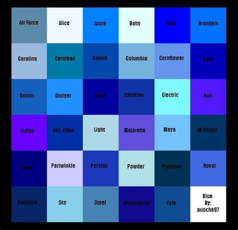 Shades Of Blue Color Chart | free coloring pages of shades of blue