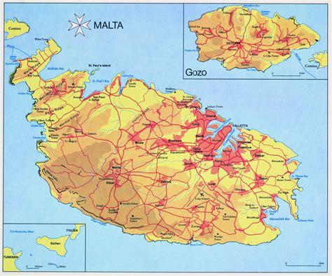 printable road map of malta large detailed elevation map of malta vidiani com maps
