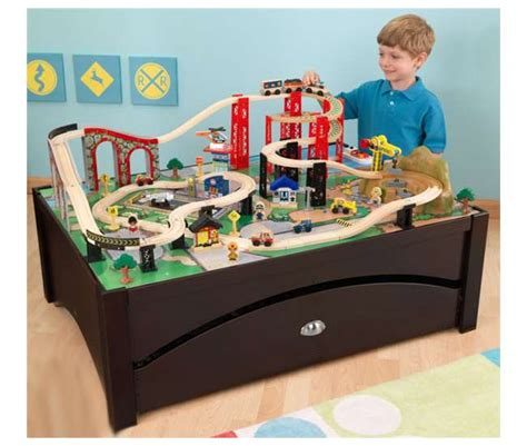 brio train table with drawers kidkraft new metro wooden train table set with trundle