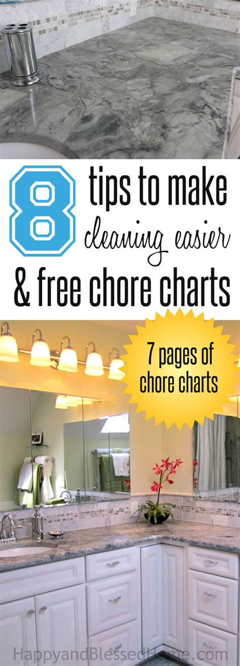 8 Tips To Make House Survivable by Free Chore Charts For And 8 Tips To Make Cleaning