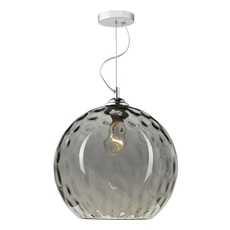 Smoked Glass Pendant Light 1lt Pendant Silver Smoked Glass With Dimple Effect1 Light Pendant Smoked Glass