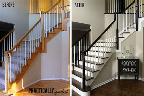 how to refinish a wood banister how to gel stain ugly oak banisters without sanding