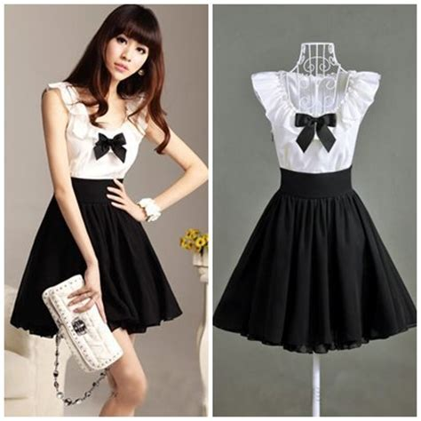 New 2014 black white color patchwork ruffles collar bow knee length slim cute women pleated