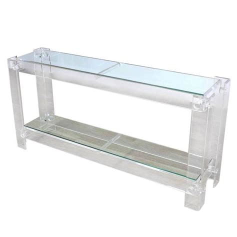 lucite sofa table two tier lucite console sofa table for sale at 1stdibs