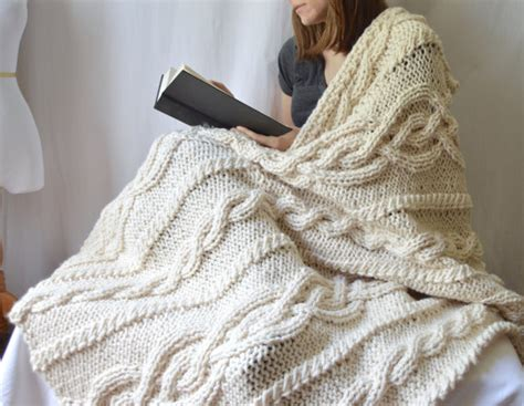 chunky cable knit throw blanket pattern chunky knit cable throw blanket knitting pattern pdf
