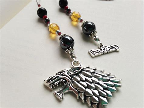 libro wolf beaded bookmark game of thrones house stark gift bookmark beaded book thong