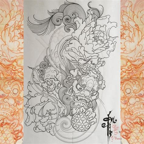 chinese lion tattoo foo fu buda imperial guardian