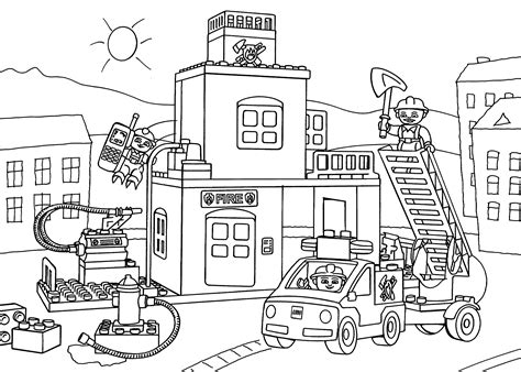 lego fire truck coloring page lego fire station coloring page for kids printable free