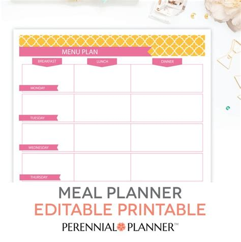 Menu Plan Weekly Meal Planning Template Printable Editable Meal Menu Template