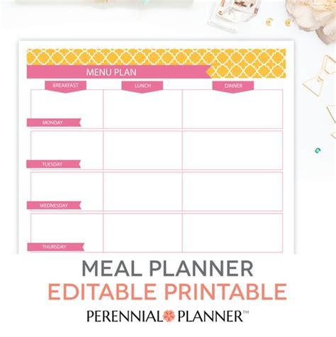 Menu Plan Weekly Meal Planning Template Printable Editable Editable Meal Plan Template