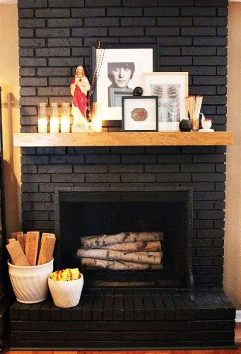 Black Painted Brick Fireplace by Painting Brick Fireplace Designs Ideas Small Room
