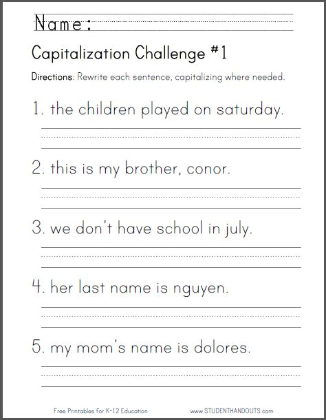 free printable capitalization challenge worksheet