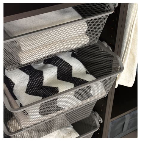 ikea wardrobe baskets komplement mesh basket with pull out rail grey 50x35