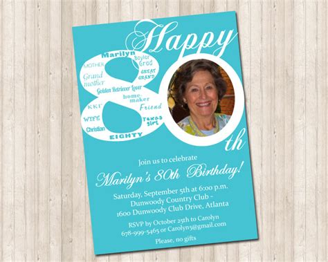 sle invitations for 80th birthday 80th birthday invitation design graphics