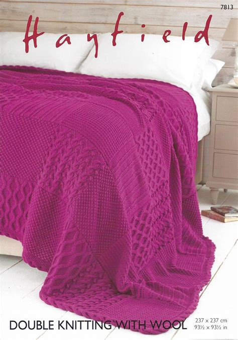 knitted bed throw pattern hayfield dk with wool 7813 bed throw knitting pattern