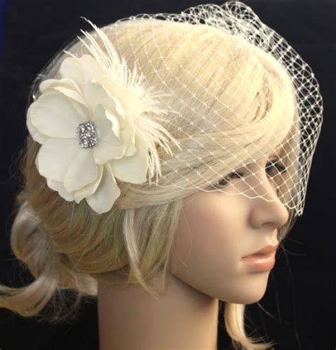 Wedding Hair Flower With Netting by Birdcage Veil Blusher And Bridal Fascinator Vintage