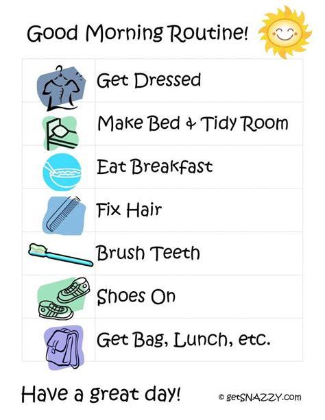 printable toddler daily routine good morning routine for kids free printable www