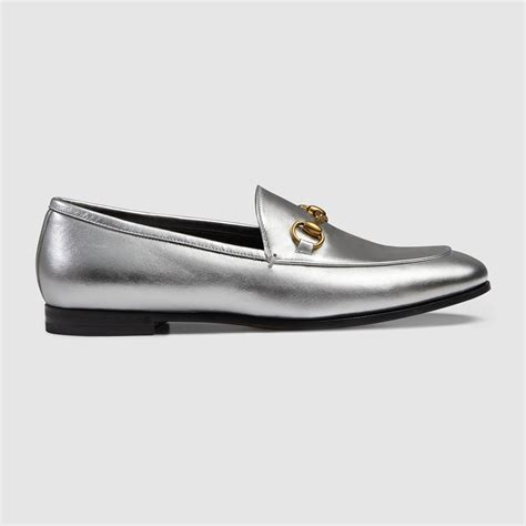 silver loafers metallic gucci jordaan metallic loafer in silver silver leather