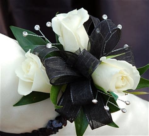 What Color Compliments Pink White Sweetheart Rose Corsage Black