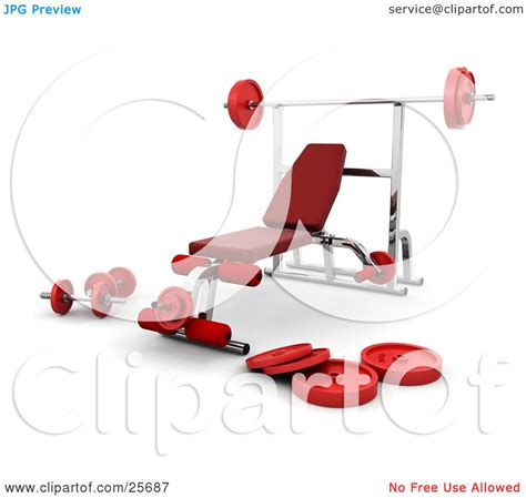 bench press setup clipart illustration of a chrome bench press setup with red padding and weights in a