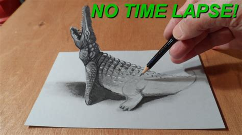 How To Make Paper Look 3d - no time lapse trick drawing 3d crocodile