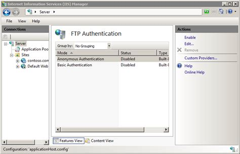 Default Ftp Authentication Settings The Official