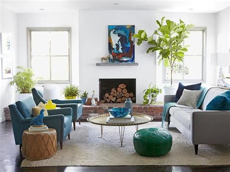living room magazine contemporary home makeover fireplaces tables and plants