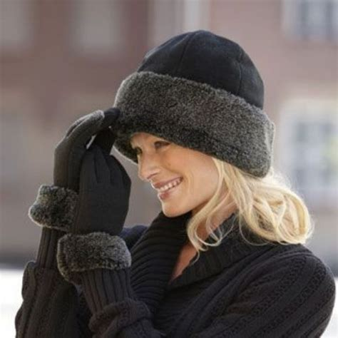 winter hat and gloves set womens