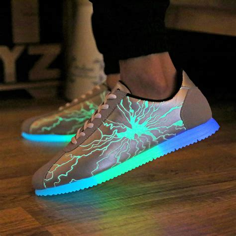 waterproof light up shoes size 39 44 pu leather casual led shoes men led light up