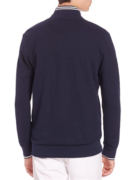 Sweater Lacoste Lacoste Zip Front Sweater In Blue For Lyst