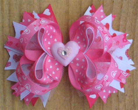 valentines day bow s day hair bow boutique style pink white