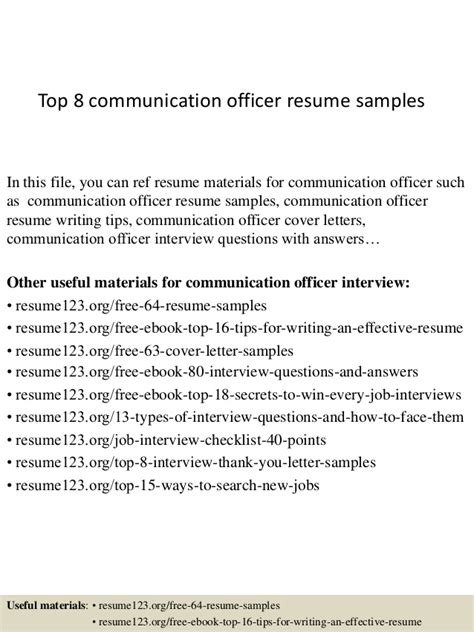 Communications Officer Sle Resume by Top 8 Communication Officer Resume Sles