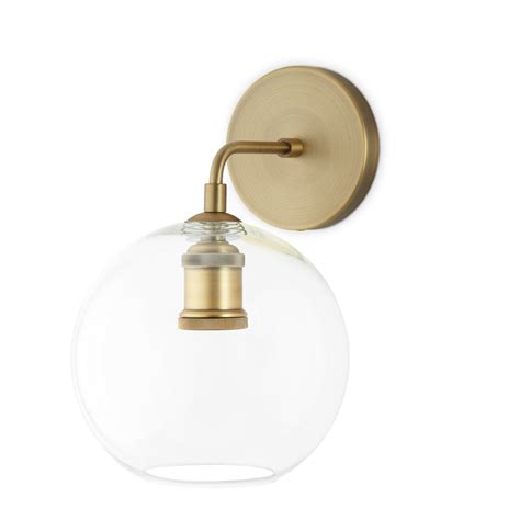 Globe Wall Sconce Lights Wall Sconces Alton Wall Sconce With Clear Globe Aged Brass