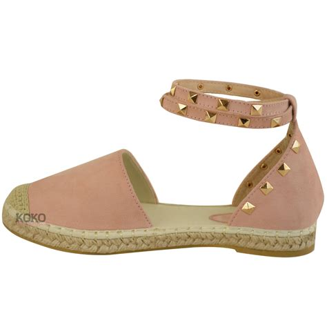 ankle sandals womens studded espadrilles flats ankle strappy