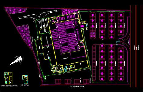 warehouse layout dwg cad building template shop department store site
