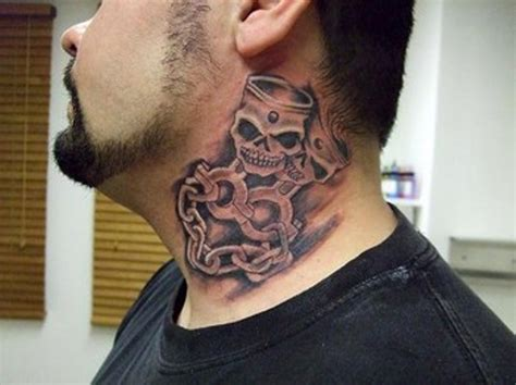 neck tattoo designs male chain skull neck tattoos for men real photo pictures