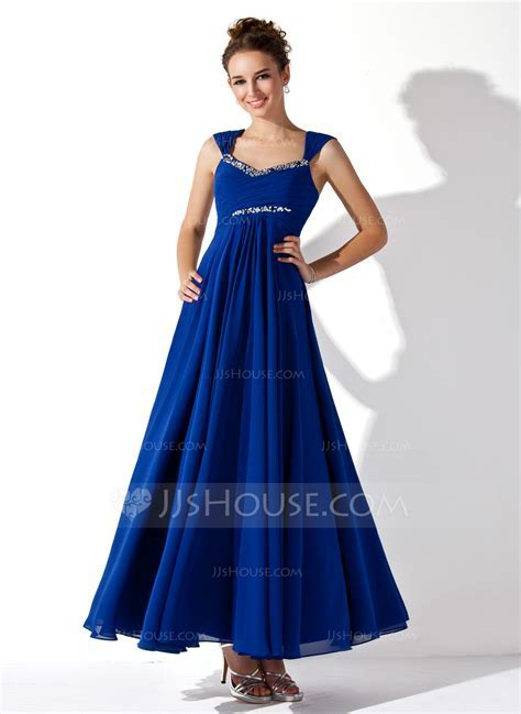 A Line/Princess V neck Ankle Length Chiffon Prom Dress