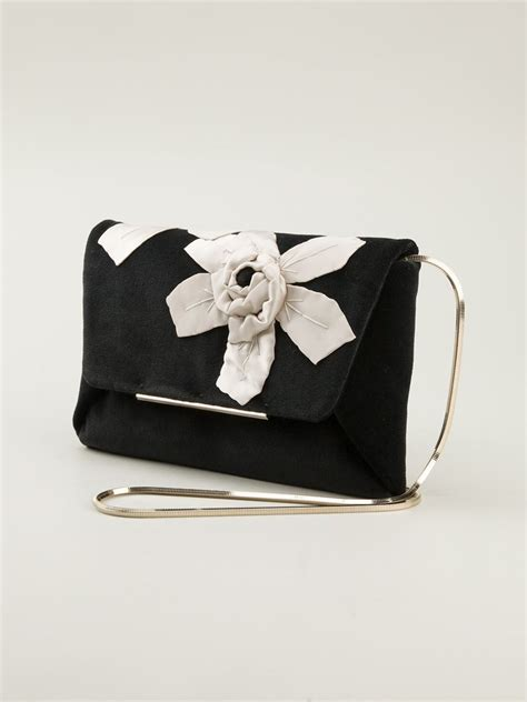 Floral Embroidered Evening Clutch by Lyst Lanvin Flower Embroidered Evening Clutch In Black
