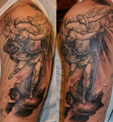 realistic angel tattoo designs vs evil design on arm tattoobite