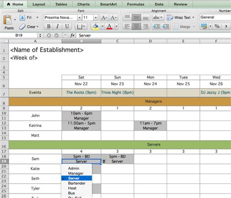 Restaurant Work Schedule Template restaurant employee scheduling template for excel 7shifts