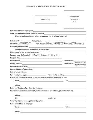 Application Letter In Japanese Fillable Visa Application Form To Enter Japan Fax Email Print Pdffiller
